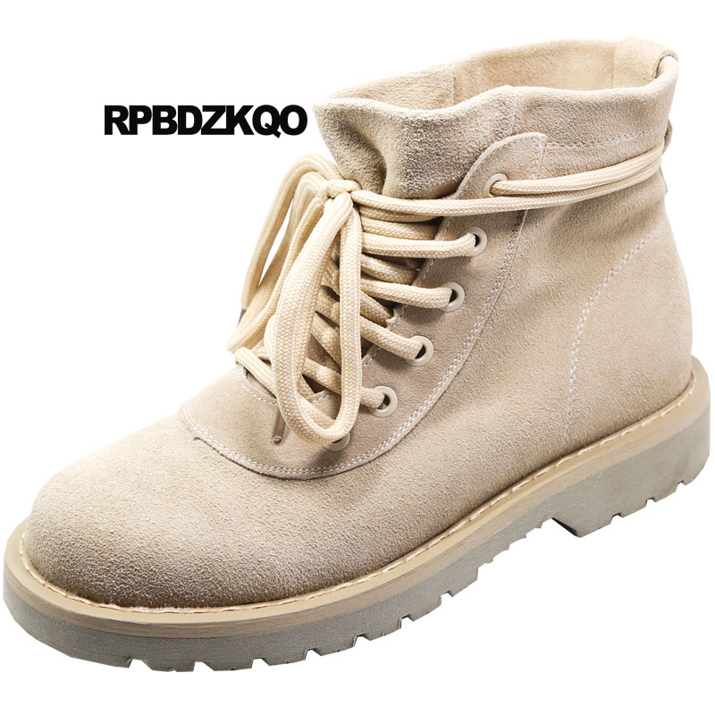 british combat military women 2018 round toe suede boots fall front lace up casual ankle autumn booties genuine leather shoesbritish combat military women 2018 round toe suede boots fall front lace up casual ankle autumn booties genuine leather shoes