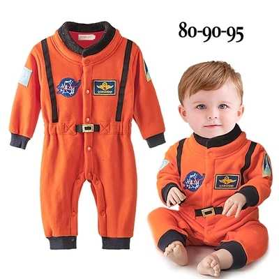 Cool Baby Boys Costumes Orange Astronaut Style Romper Baby Costumes Newborn Space Suit Long Sleeve Jumpsuit Embroidery Clothes