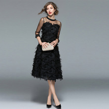 PADEGAO Summer Clothes For Women 2019 Fashionable Patchwork Tassel A-Line Pleated Lace Dress Elegant Ladies Black Party Dresses
