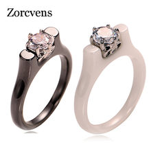 Modyle Fashion 6MM Crystal Ceramic Ring Cubic Zirconia Stone Black/White Color Women Jewelry Engagement Wedding Band Gifts(China)