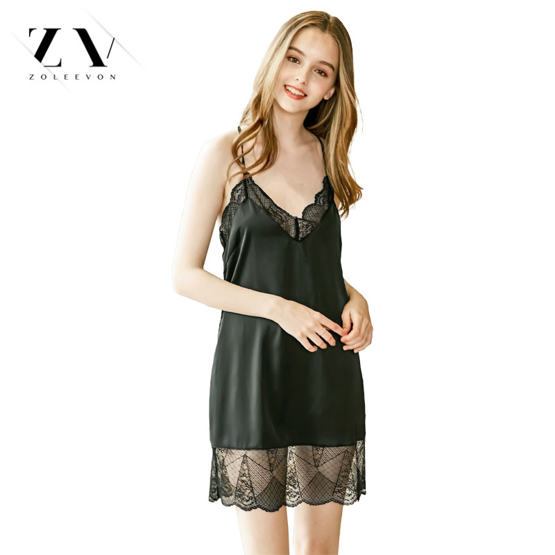 Silk Dress Women Night Wear Summer Spring Nightgowns Black Lace Pink Sleepwear Sleeveless Chemise Satin Night Dress Lingerie
