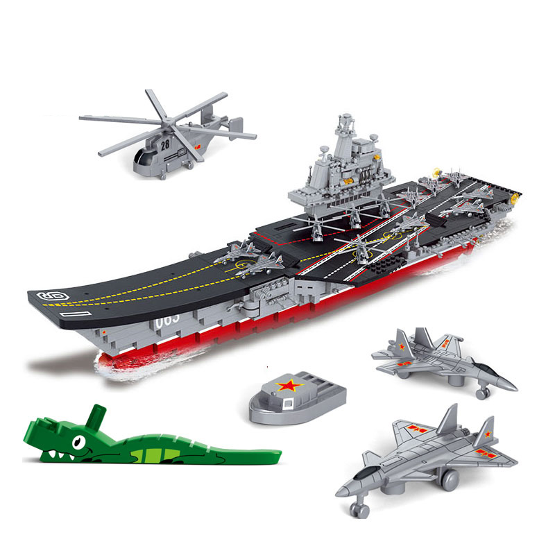 B0399 SLUBAN Military Aircraft Carriers Model Building Blocks Classic Enlighten DIY Figure Toys For Children Compatible Legoe sluban military series nuclear submarine and service stations model building blocks toys for children compatible with legoe sets