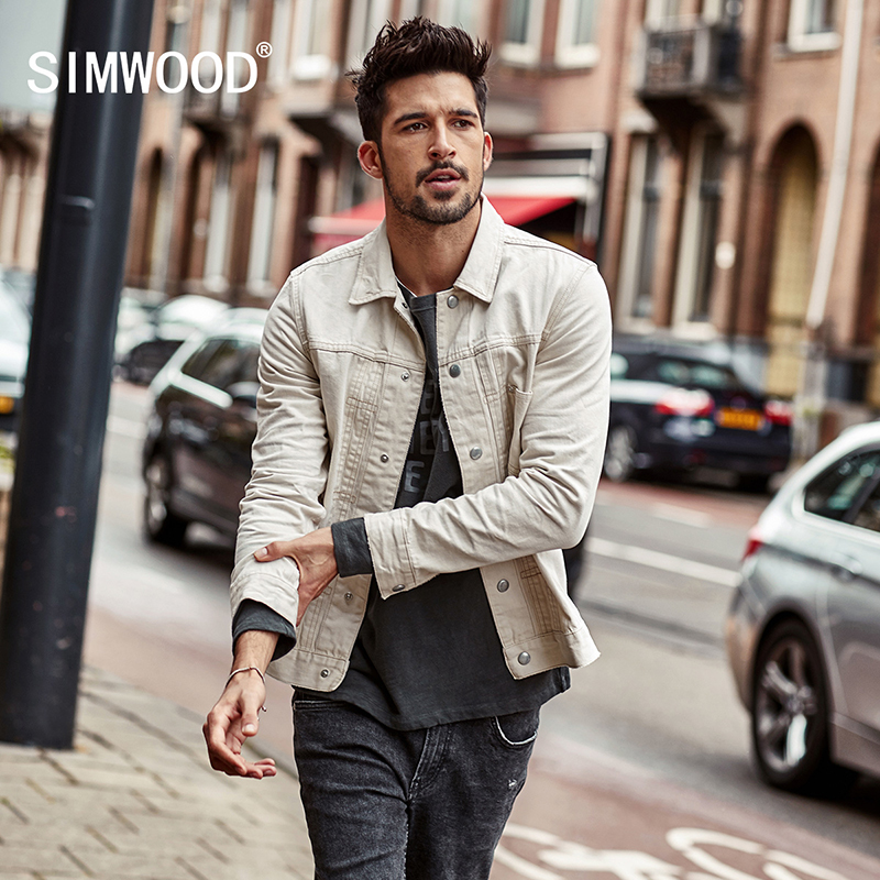 52752f5f4f US $85.55 |SIMWOOD Denim jackets men 2018 Autumn New 100% Cotton Slim Fit  Men's Jean Jacket Coats Plus Size Brand Clothing NK017001-in Jackets from  ...