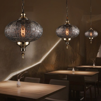 Loft Stile Hollow Ferro Droplight Industrial Vintage LED Lampade a Sospensione Sala da pranzo Lampada A Sospensione Decorazione di Illuminazione Interna - 2