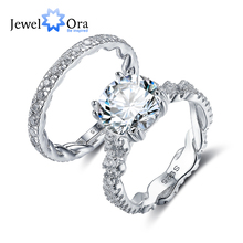 Luxury Wedding Jewelry 10mm 3.5 CT Hearts And Arrows Round Cubic Zirconia 925 Sterling Silver Ring Sets (JewelOra RI102343)