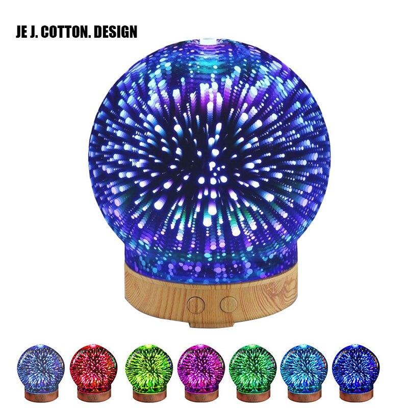 100 ML 3D Aroma Diffusore Aromaterapia Olio Essenziale Diffusore per la casa Humidificador Umidificatore Ad Ultrasuoni con Lampada Da Notte