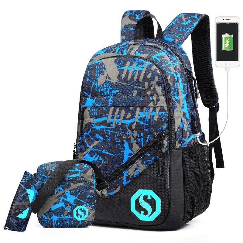 Luminous, Travel, Charging, Casual, Backpacks, Male