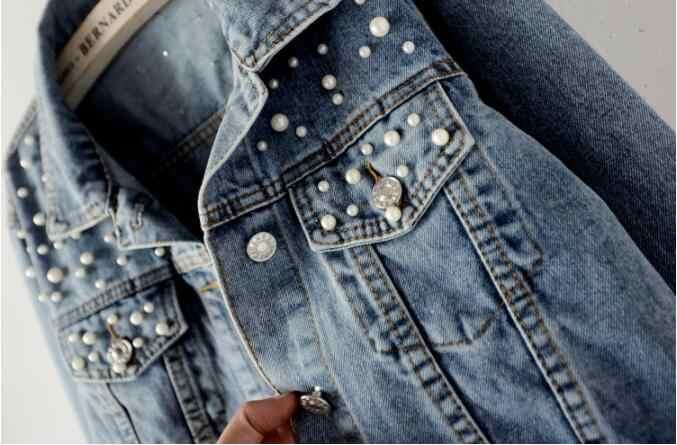 新2019プラスサイズの真珠ビーズショートデニムジャケット5Xl女性の長袖レトロカジュアルデニムジャケット爆撃機デニムジャケット