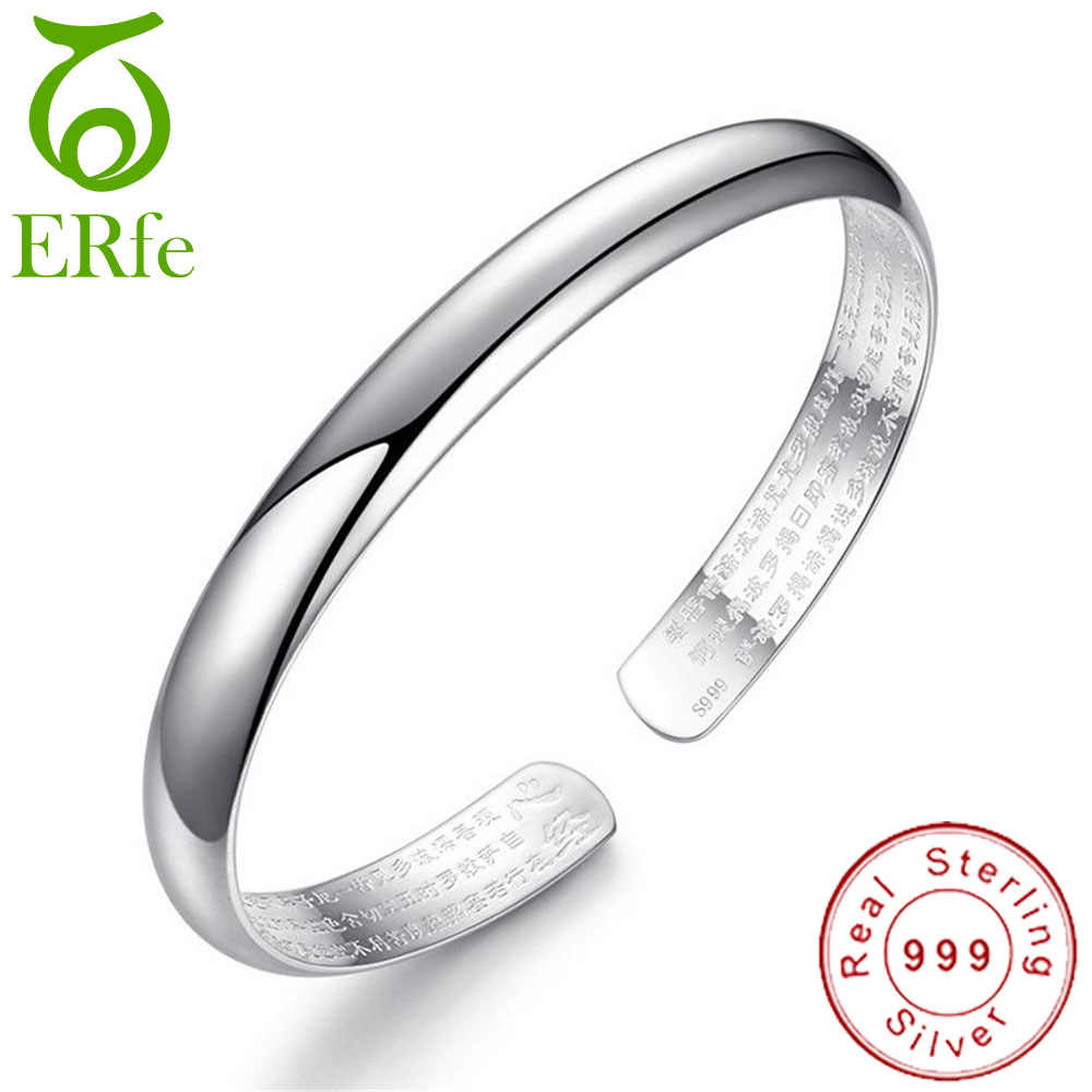 Real Pure 999 Silver Buddhist Heart Sutra Bangle Glossy Bracelet Femme Argent Scripture Braclet Chinese Religious Jewelry SB002
