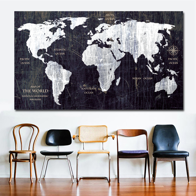 Unique Vintage Hd World Map Canvas Painting Printing Poster Wall