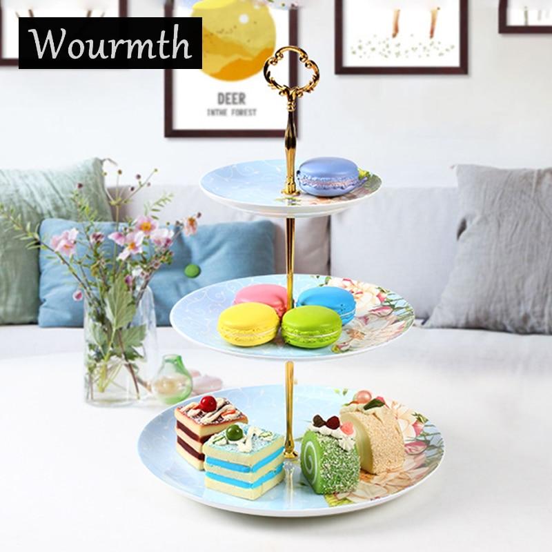 WOURMTH os porcelaine plats en céramique gâteau plaque définit trois niveaux fruits plaque gâteau
