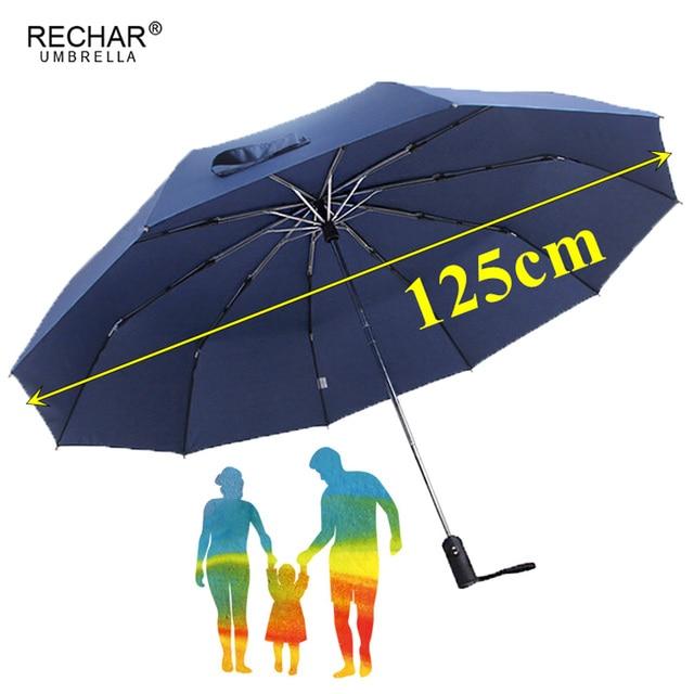 125 cm Automatico Grande Ombrello Donne Pioggia 3 Pieghevole Ombrello Affari Deg
