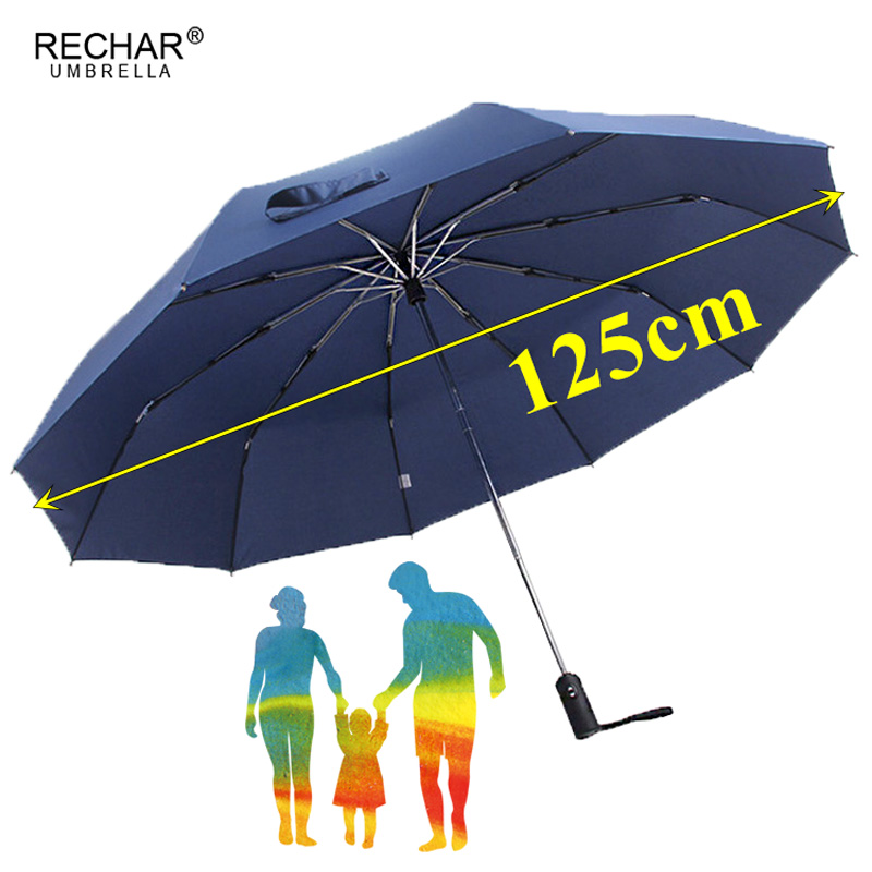 125 cm automatique grand parapluie pluie femmes 3 pliant affaires parapluie hommes qualité 10 K coupe-vent parapluies en plein air paraguay Mujer