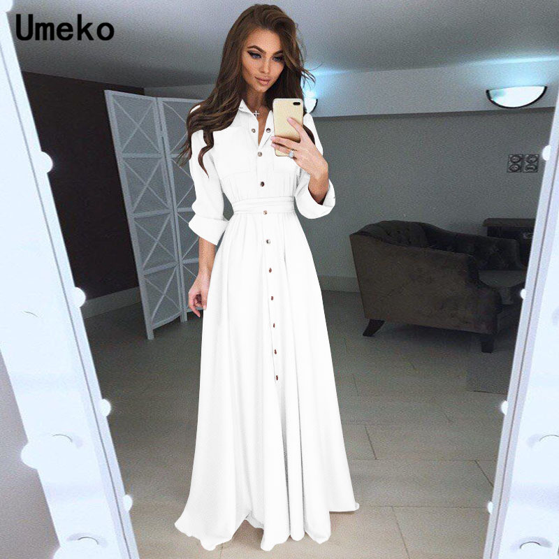 Umeko Black White Shirt Dress Women Turn-down Collar Solid Spring Maxi Ladies Dresses Long Sleeve Casual Dress Female Elegant