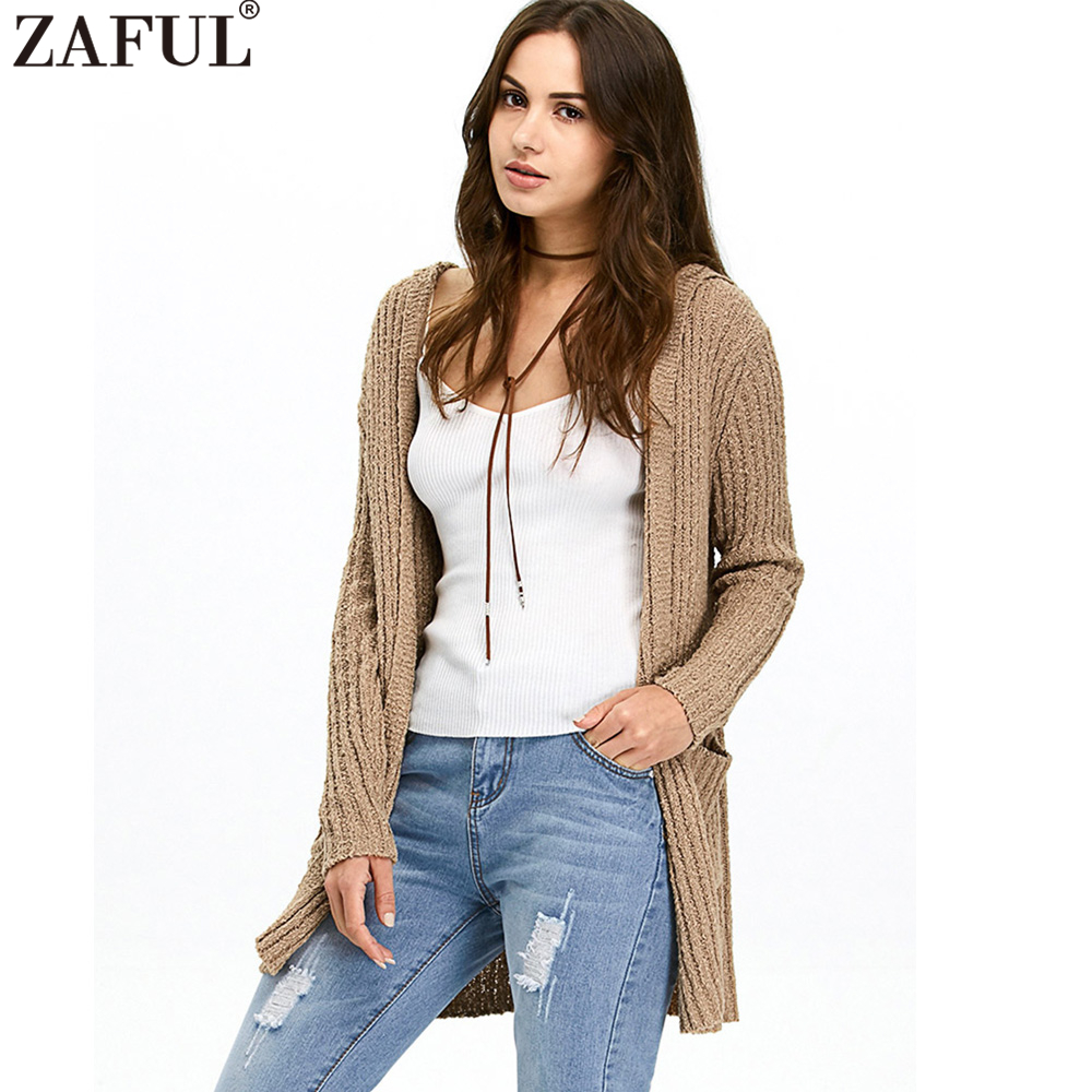 ZAFUL Women Autumn Hooded Ribbed Long Cardigan Sweaters Brown ...
