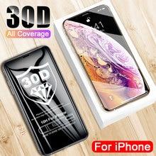 30D מעוקל קצה מלא כיסוי מגן זכוכית על עבור iPhone 7 8 6 6 S בתוספת מזג מסך מגן עבור X XR XS מקס זכוכית סרט