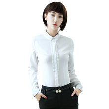 New fashion Career women clothes slim shirt OL formal long sleeve chiffon blouses office ladies plus size work wear tops white