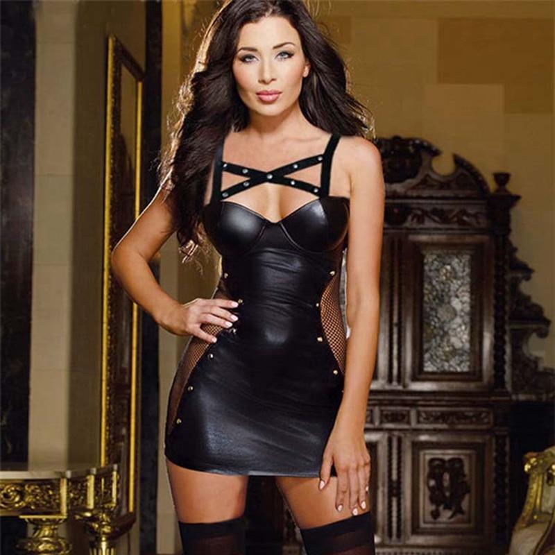 2016 Summer Short Dress Fashion Sleeveless Fake Leather