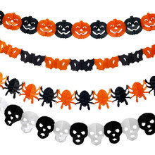 Halloween Carta 3 m Zucca Catena Garland Decorazioni Zucca Pipistrello Fantasma Spider Forma Del Cranio di Halloween Decorazioni Del Partito HG0160(China)