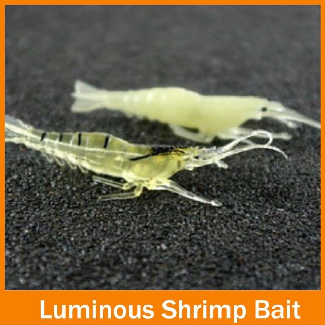 Fishy Smell !! 10pcs 1.06g 5.5cm fishing soft lure 5CM luminous Shrimp Fishing Lure Soft lure Shrimps good quanlity