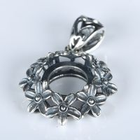 Antique Vintage 925 Sterling Silver Women Flower Pendant 10x10mm Round Cabochon Semi Mount Jewelry Setting
