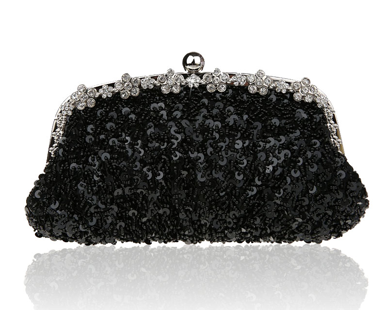 New Arrival Black Banquet Handbag Clutch Beaded Sequined Party Bridal Evening Bag Womens with Shoulder Chain Makeup Bag 03396-4