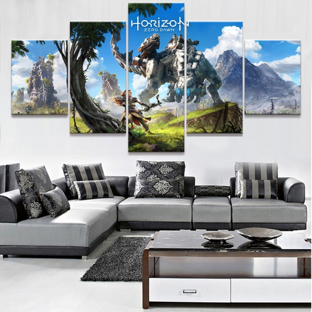Canvas Wall Art Modular Pictures Living Room Home Decor 5 Pieces Horizon Zero Dawn Game Paintings