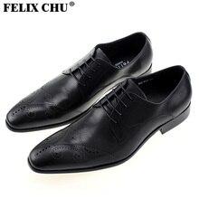 FELIX CHU 2016 Neue Stil Herren Smart Brogue Echtem Leder Hochzeit Büro Formale Mann Kleid Schwarze Schuhe Größe 39-46 #185-W10