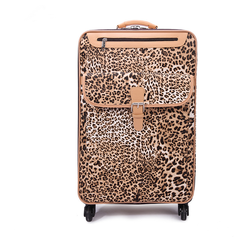 Wholesale!Female 18 20 22 24inches pu leather travel luggage sets,girl fashion leopard trolley luggage on universal wheels,gifts