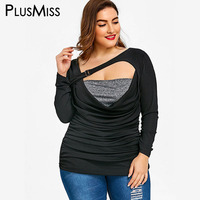 PlusMiss Plus Size 5XL Sexy Ruched Skew Collar T Shirt Women Clothing Big Size Summer 2018