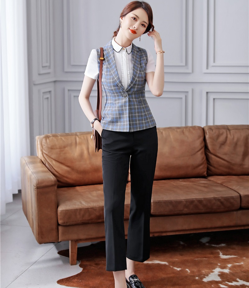 Formal 2 Piece Set Uniform Designs Pantsuits With Tops And Flared Pants For Ladies Office Blouses Pants Suits 2019 Spring Summer