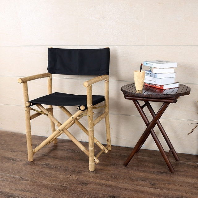 Bamboo Directors Chairs Adirondack Polywood Hand Crafted Foldable Director S Chair With Comfortable Canvas Seat Back Furniture Outdoor Fishing Folding