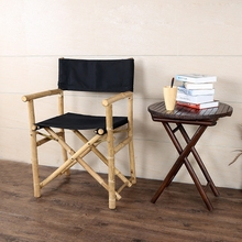 Hand Crafted Foldable Bamboo Director's Chair with Comfortable Canvas Seat/Back Bamboo Furniture Outdoor Fishing Folding Chair