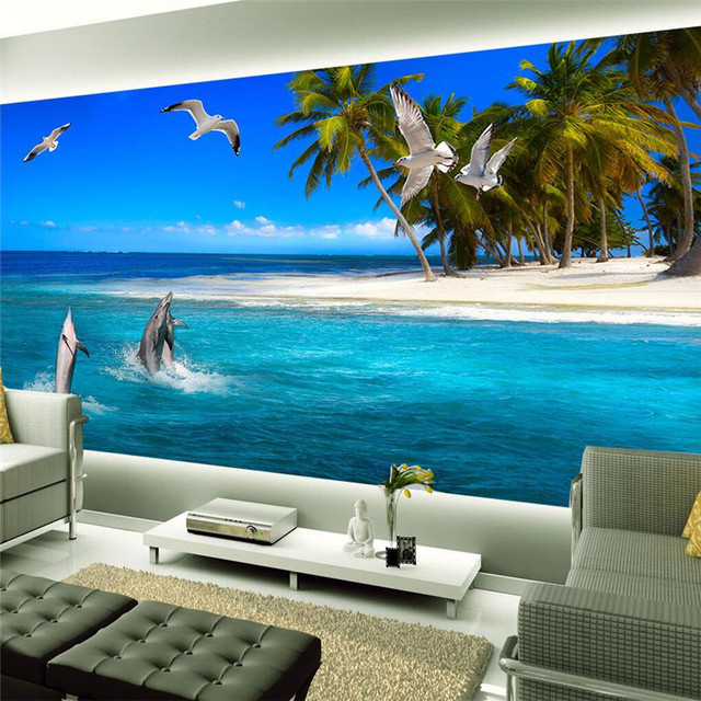 Moderno fondos pintura grande coco playa isla delf n for Murales en 3d para salas