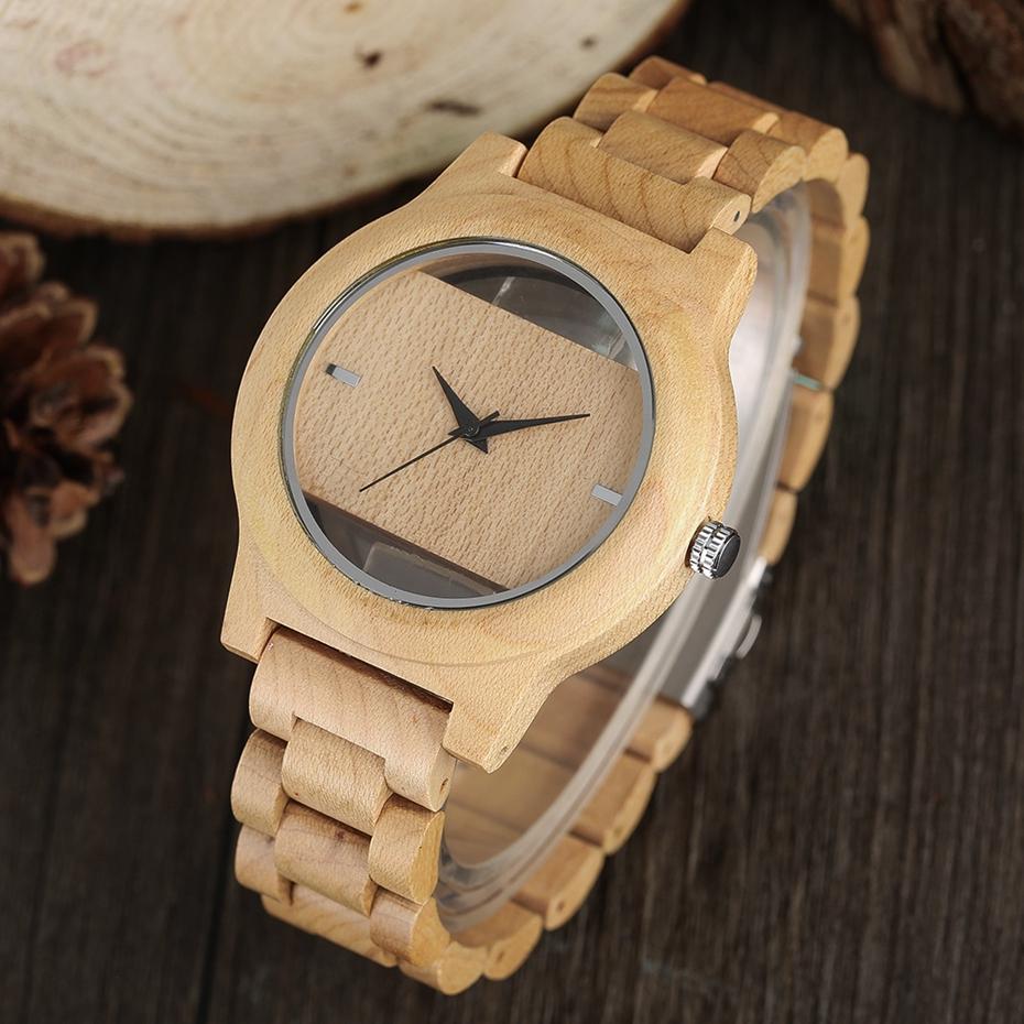 YISUYA Mens Women Natural Wood Watches Full Wooden Bamboo Wristwatch Fashion Hollow Dial Design Quartz Novel Handmade Clock Gift 2017 (17)