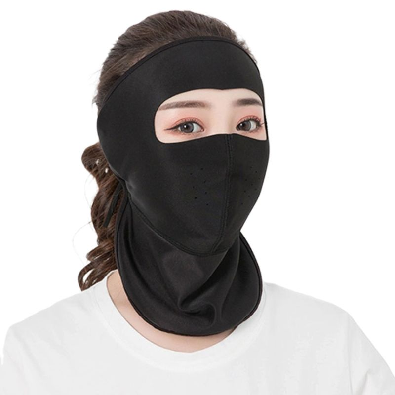 Women Thin Breathable Ice Silk Sunscreen Long Neck Full Face Mask Summer UV Protection Cycling Outdoor Beach Earloop Respirator