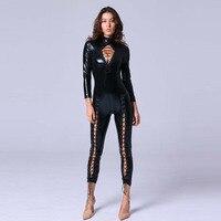 Dream Vine Wetlook Vinyl Leather Long Jumpsuit Lace Up Design Elastic Black PU Full Bodysuit Playsuit Sexy Nightclub Catsuit XXL
