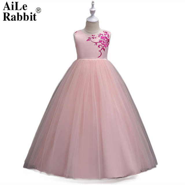8c6008c9d116 AiLe Rabbit 2018 New Girl Dress Sarong Wedding Dress Birthday Party Flower  Girl Pettiskirt Long Big Children Brand Boutique