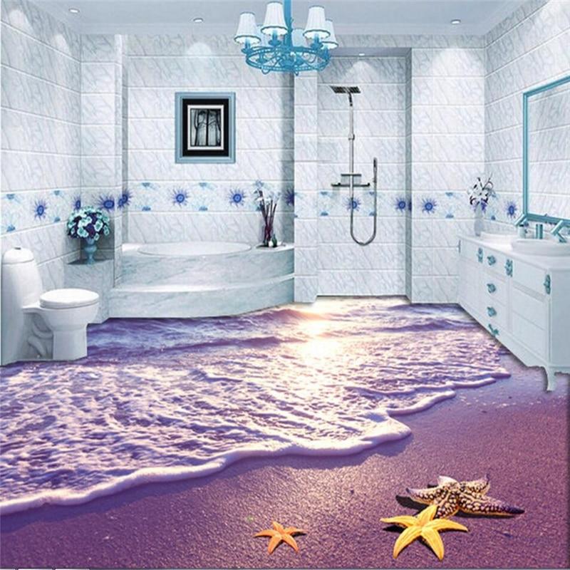 цена на beibehang flooring Custom PVC floor wallpaper non-slip waterproof thickened self adhesive PVC Wall paper Murals 3D wall sticker