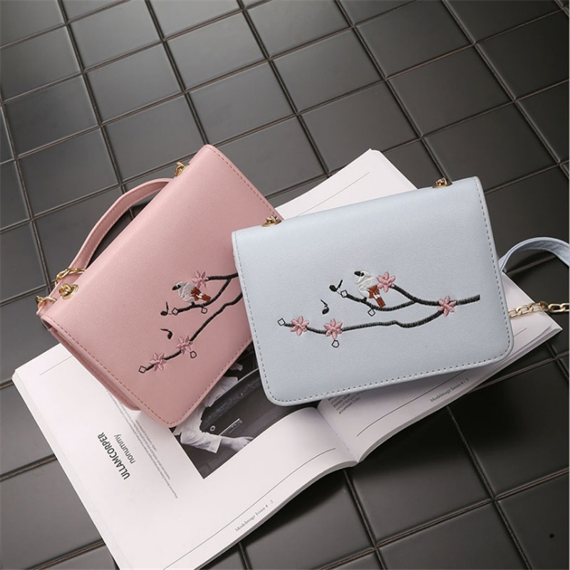 Fashion Print Shoulder Bag Peach Branch Chain Trend Handbag PU Leather Small Square Package Mini Women Messenger Bag in Shoulder Bags from Luggage Bags