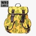 México Cactus Impressão mochila mochila do vintage das mulheres de couro 2016 sacos de escola para adolescentes mochila mochilas femme sac a dos