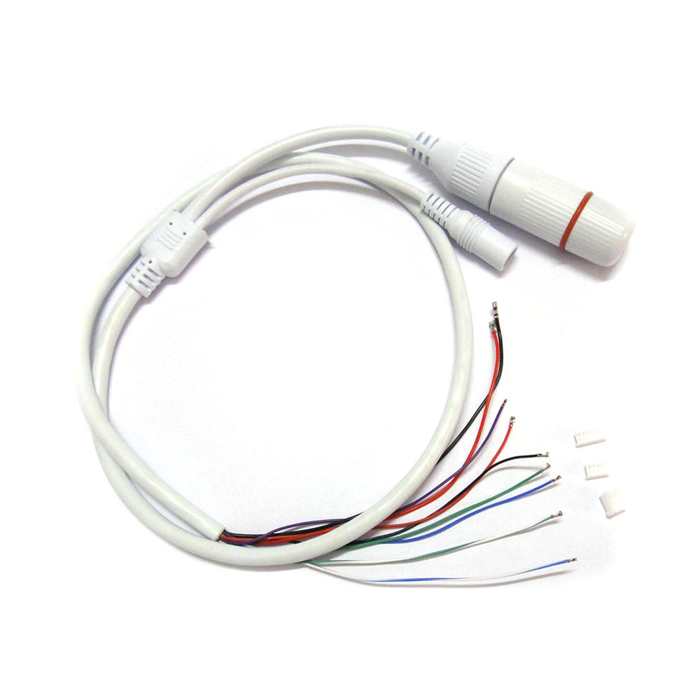 Weatherpoof CCTV IP Network Camera PCB Module Video Power End Cable RJ45 Female & DC Male Connectors With Terminals