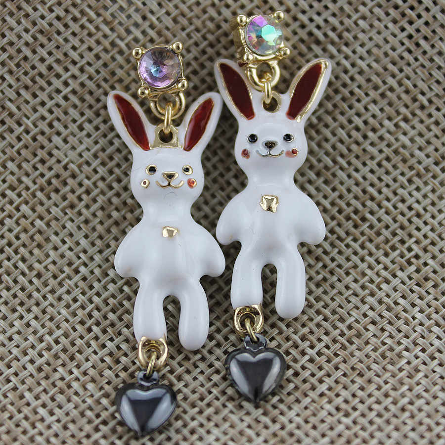 XQ Free shipping 2015 The new white bunny earrings BJ Gifts for girls The new popular banquet texture