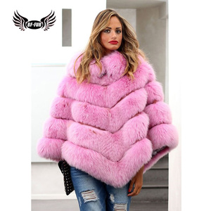 Image 2 - BFFUR Real Fur Fox Coat For Womens Top Quality Natural Fur Coat Ponchos and Capes Whole Skin Covered Women Winter Fashion Coats