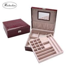 Купить с кэшбэком 2017 New style Crocodile Pattern Leather Jewelry Box Fashion Jewelery Box With  Mirror  Double Layers Store Box