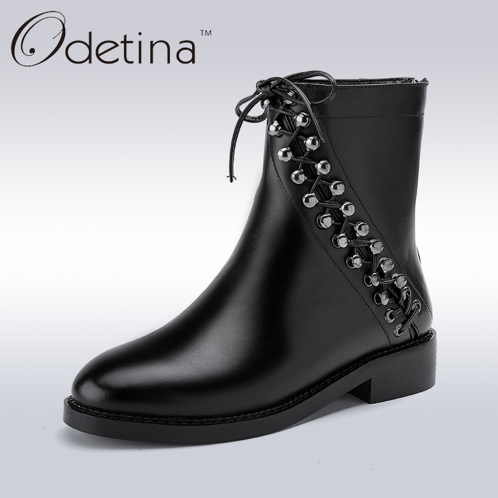 ФОТО Odetina 2017 New Winter Spring Genuine Leather Women's Brand Designer Motorcycle Boots Women Shoe Cross Tied Punk Boots Rivets