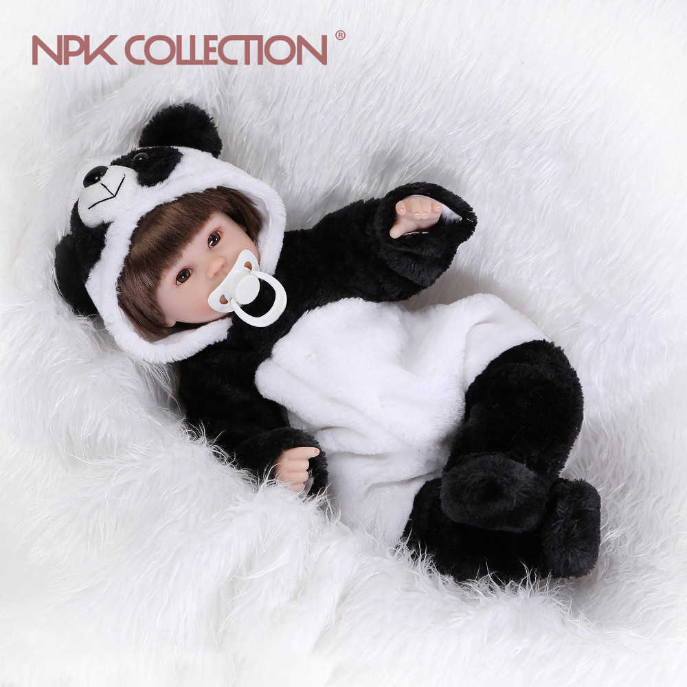 NPKCOLLECTION 17inches lifelike boneca reborn panda doll reborn baby soft silicone vinyl real touch doll lovely newborn baby