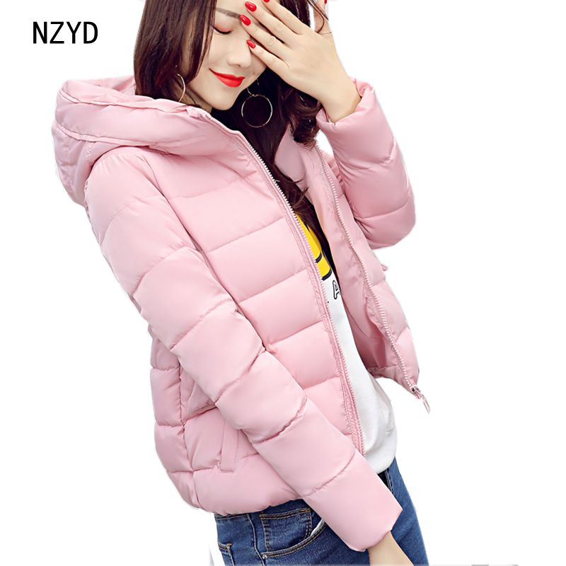 Winter Coat Women 2017 New Fashion Hooded Warm Solid color Short Jacket Long sleeve Slim Big yards Students Parkas LADIES289 2017 new winter fashion women down jacket hooded thick super warm medium long female coat long sleeve slim big yards parkas nz18