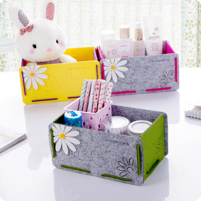 Cartoon Flower Makeup Organizer Finishing Box 2 Pieces/Lot Multifunctional Desktop Sundries Storage Box