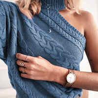 RUGOD 2019 Multi couleur torsion modèle pull femmes décontracté solide tricoté unique épaule femmes chandails pull femme hiver